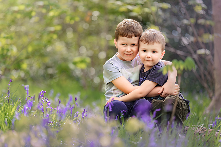 brothers Helen Rowan Photography Bluebells Chesterfield outdoor family photoshoot